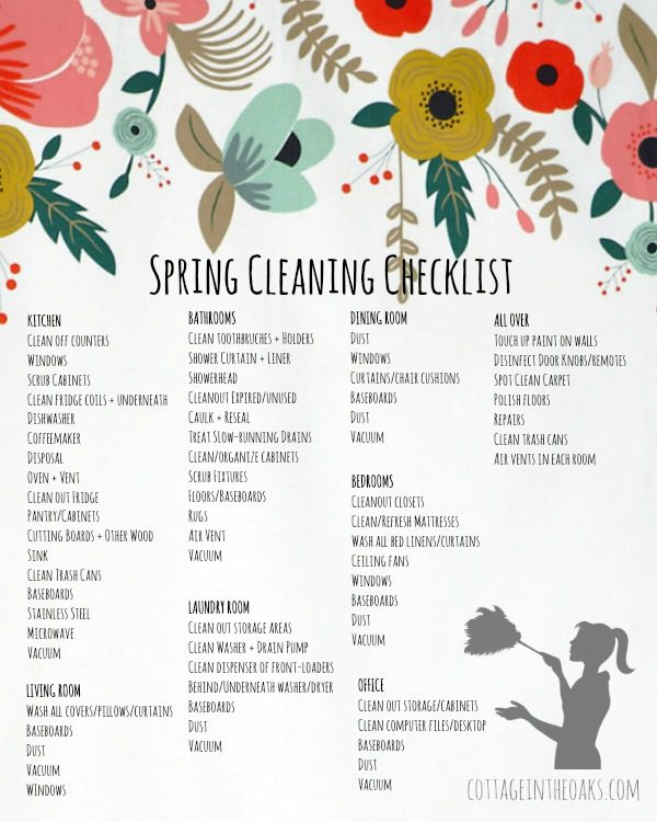 Spring Cleaning Checklist  Free Printable  Cottage In The Oaks